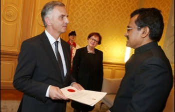 Ambassador M.K. Lokesh presented credentials to Swiss President H.E. Mr. Didier Burkhalter at the Federal Palace in Berne on 14th January, 2014.