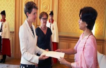 Ambassador Smita Purushottam presenting credentials to Swiss President