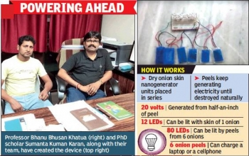 IIT-Kgp turns onion skin into electricity