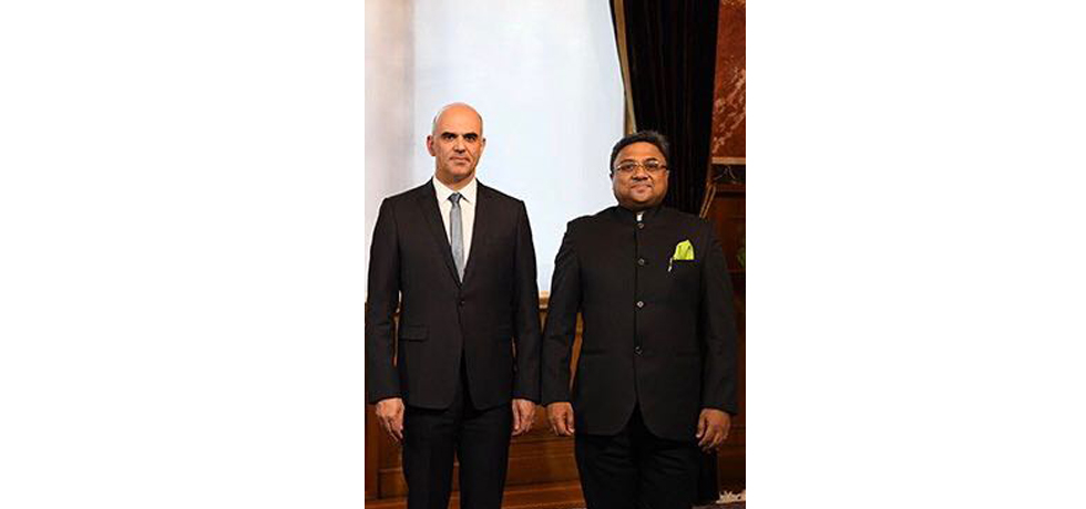 Ambassador Mr. Sibi George called on The President of Swiss Confederation H.E. Mr Alain Berset in Bern on January 17, 2018.