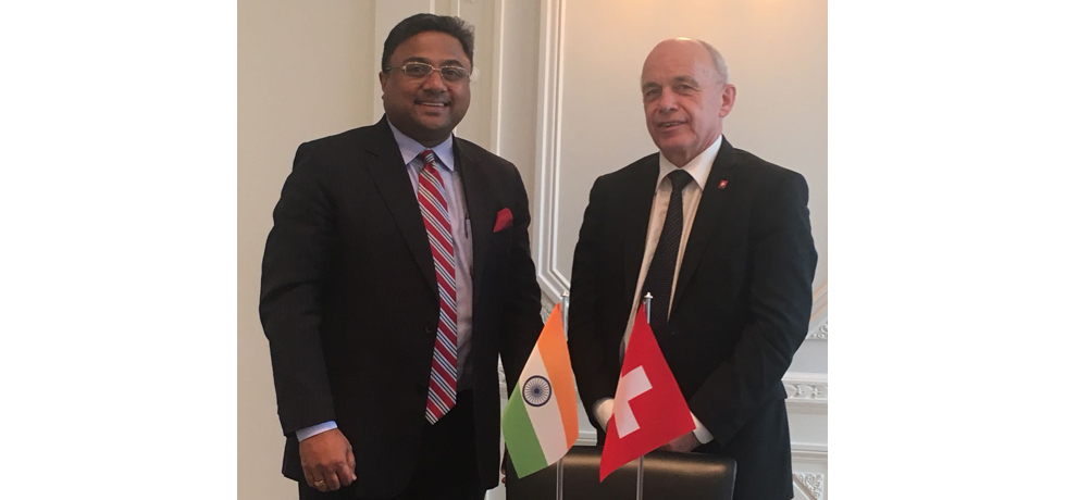 Ambassador Mr. Sibi George meeting with the Swiss Vice President, Federal Councillor, H.E. Mr. Ueli Maurer who is also the Head of the  Department of Finance on Jan 15, 2018