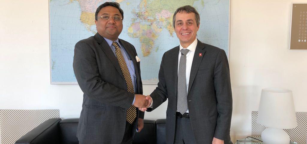 Ambassador Sibi George called on H.E. Mr. Ignazio Cassis, Federal Councillor, Head of Swiss Federal Department of Foreign Affairs in Bern on Feb 13, 2018.