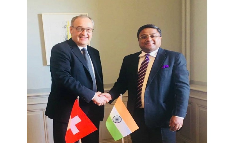 Ambassador Sibi George with H.E. Mr Guy Parmelin, Federal Councillor and Head of Federal Department of Defence, Civil Protection and Sports (Defence Minister of Switzerland) in Berne.