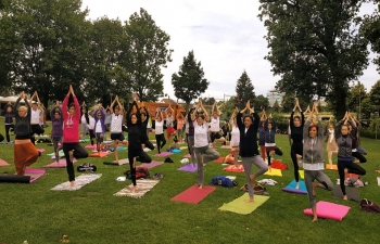 4th   International Day of Yoga Celebration on the banks of River Rhine in Swiss City of Basel on June 21, 2018