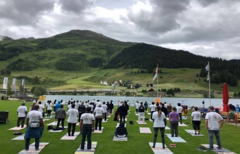4th   International Day of Yoga Celebration at Davos on June 24, 2018