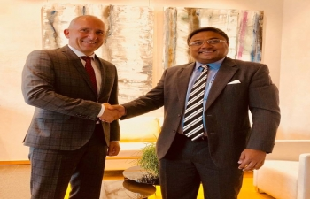 Ambassador Sibi George with HE Mr. Adrian Hasler, Hon'ble Prime Minister of the Principality of Liechtenstein on June 12 in Vaduz