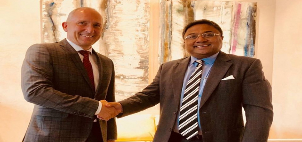 Ambassador Sibi George with HE Mr. Adrian Hasler, Hon'ble Prime Minister of the Principality of Liechtenstein on June 12 in Vaduz.