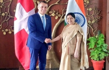 EAM Sushma Swaraj meets Swiss Foreign Minister H.E. Dr. Ignazio Cassis in New Delhi on August 10, 2018