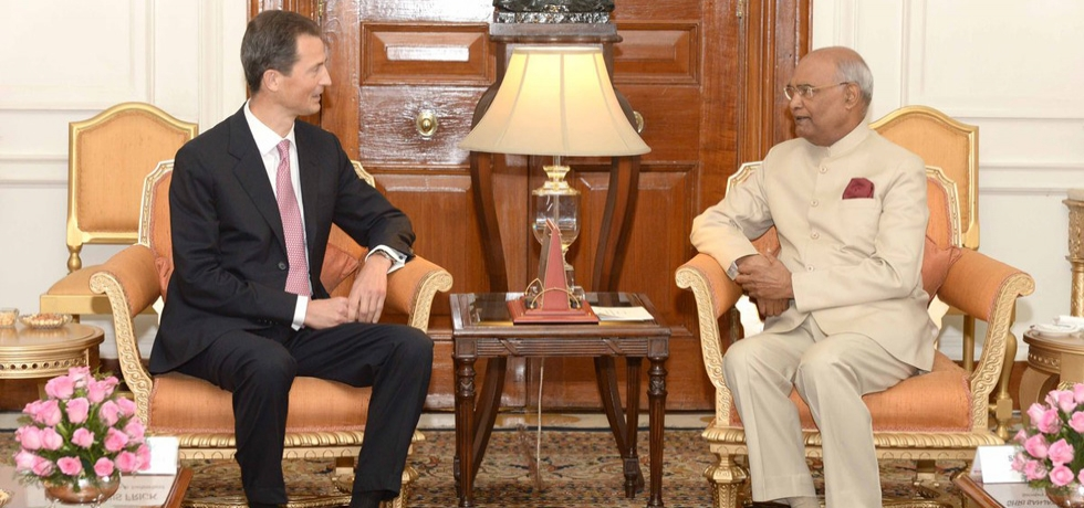 HSH Prince Alois of Liechtenstein called on The President of India at Rashtrapati Bhavan, New Delhi, India, on October 12, 2018.