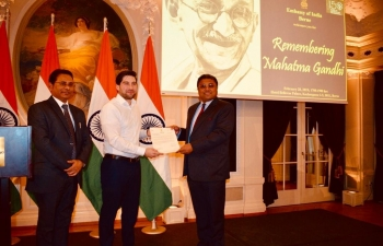 Handing over the letter of appreciation from Hon'ble EAM Sushma Swaraj to Kim Romeo Lai who sang Vaishnav Jan To, in Bern on February 28th 2019
