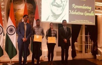 Felicitated winners of Gandhi Quiz at 'Remembering Mahatma Gandhi in Switzerland' in Bern on February 28th 2019