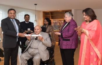 Awarding the Pravasi Bharatiya Samman award to Dr. Rajendra Kumar Joshi in Zurich on March 27th, 2019