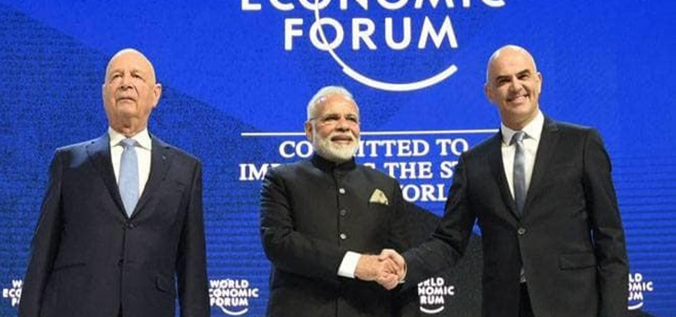 Prime Minister of India, Mr. Narendra Modi with the President of the Swiss Confederation, Mr. Alain Berset and the Chairman of the World Economic Forum, Professor Klaus Schwab, at the plenary session of the World Economic Forum, in Davos on January 23, 2018