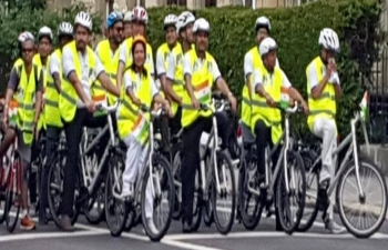 Celebrating Mahatma in Switzerland on World Cycling Day in Berne on June 3rd  2019