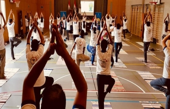 Yoga celebrations at Saas Fee on June 5th 2019