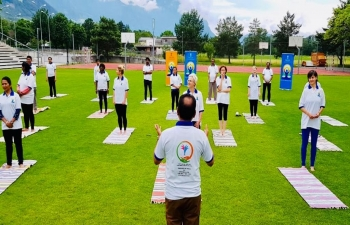 Yoga in the laps of Alps in Liechtenstein on June 20th 2019