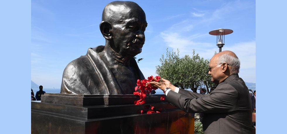 State Visit of Hon'ble President of India to Switzerland, September 11-15, 2019 : Hon'ble President unveiling bust of Mahatma Gandhi at Villeneuve on September 14, 2019