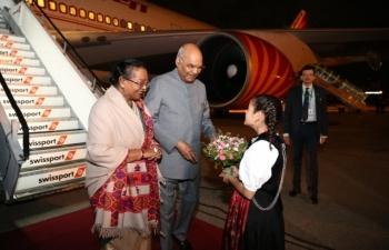 State Visit of Hon'ble President of India to Switzerland, September 11-15, 2019 : Photographs of Arrival of the Hon'ble President in Switzerland at Zurich Airport on September 11, 2019.