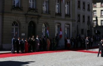 State Visit of Hon'ble President of India to Switzerland, September 11-15, 2019 : Photographs (1/2) of Ceremonial Welcome of the Hon'ble President at Munsterplatz on September 13, 2019.