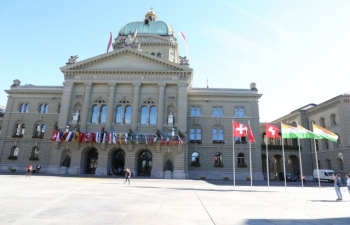 State Visit of Hon'ble President of India to Switzerland, September 11-15, 2019 : Photographs of Hon'ble President's Address to the Federal Council at the House of Parliament, Berne on September 13, 2019