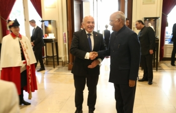 State Visit of Hon'ble President of India to Switzerland, September 11-15, 2019 : Photographs of India-Switzerland Business Round Table at Hotel Bellevue Palace, Berne on September 13, 2019