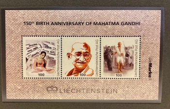 COMMEMORATIVE STAMP ON MAHATMA GANDHI IN LICHTENSTEIN ON Oct 22.