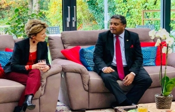 Honoured to receive HE Mme Marie- Gabrielle Ineichen- Fleisch, State Secretary, State Secretariat for Economic Affairs (SECO) of Switzerland at India House in Bern on October 31