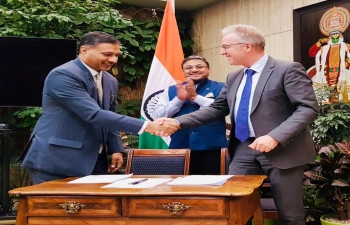India - Switzerland Consular Dialogue at Bern on Nov 11. Indian delegation led by Joint Secretary (CPV) Dr Adarsh Swaika and Swiss delegation led by Mr. Karl Lorenz , Head, International Cooperation Directorate, State Secretariat for Migration with Amb Sibi George