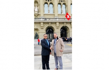 Amb Sibi George with Dr. Gugger at the Parliament. Hearty Congratulations Dr. Nik Gugger, Hon'ble Member of Swiss Parliament on his oath taking at the Federal Palace on Dec 2nd 2019 .