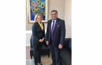Amb Sibi George with HE Dr Katrin Eggenberger, Minister of Foreign Affairs, Justice & Culture of The Principality of Liechtenstein on Jan 16