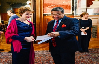 Ambassador Sibi George called on the President of Swiss Confederation H.E. Mme Simonetta Sommaruga at the traditional New Year reception at the Federal Palace in Bern on Jan 15, 2020.