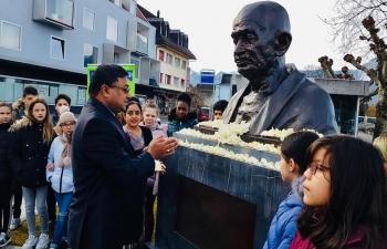 Team India in Switzerland paid floral tributes at the Gandhi statue at Gandhi Square in Villeneuve, Switzerland on Jan 30 to mark the 72nd Punyatithi of Mahatma.