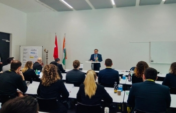 Ambassador Sibi George at the University of Applied Sciences (FHNW), Olten, Switzerland on Feb 10.