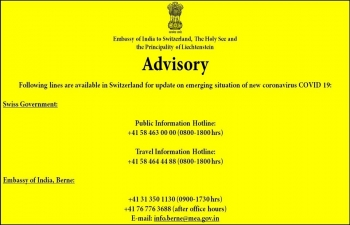 In view of the emerging situation of new coronavirus COVID-19 in the region, all Indians in Switzerland are advised to take necessary health precautions and regularly follow the advisories being issued by Swiss Govt. https://www.bag.admin.ch/…/aktuelle-ausbruec…/novel-cov.html Emergency contact numbers are attached.