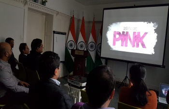 SCREENING OF HINDI MOVIE - PINK: Indian Cultural Network (ICN) of the Embassy organized screening of Hindi blockbuster movie 'Pink' at the Embassy of India premises in Berne on Feb 28.