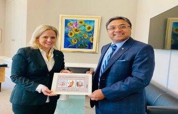Amb Sibi George had a farewell call on HE Dr Katrin Eggenberger, Foreign Minister of The Principality of Liechtenstein on July 2, 2020 at Vaduz.