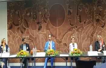 A Panel Discussion on India-EFTA Trade & Economic Partnership Agreement was held during 35th Annual General Meeting of Swiss - Indian Chamber of Commerce on Sept 8 in Berne. Counsellor, EoI, Berne Dr. Piyush Singh participated as a Panelist.