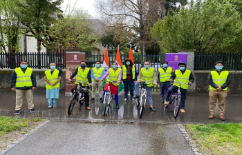Team India in Switzerland & Liechtenstein organized a symbolic Cycle March to express solidarity and to pay tribute to corona victims against the second wave of Covid-19