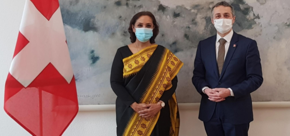 Ambassador Monika Kapil Mohta called on Federal Councillor H.E. Dr. Ignazio Cassis , Head, Federal Department of Foreign Affairs (Foreign Minister) of Switzerland on March 18 in Berne