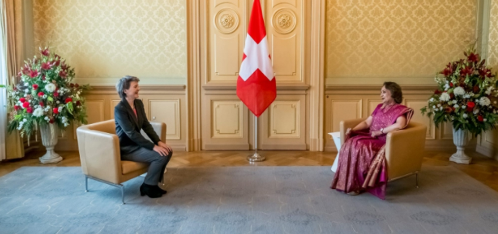 Ambassador Ms. Monika Kapil Mohta presented Credentials to President of Swiss Confederation H.E. Simonetta Sommaruga at Federal Palace in Berne on 13th October, 2020