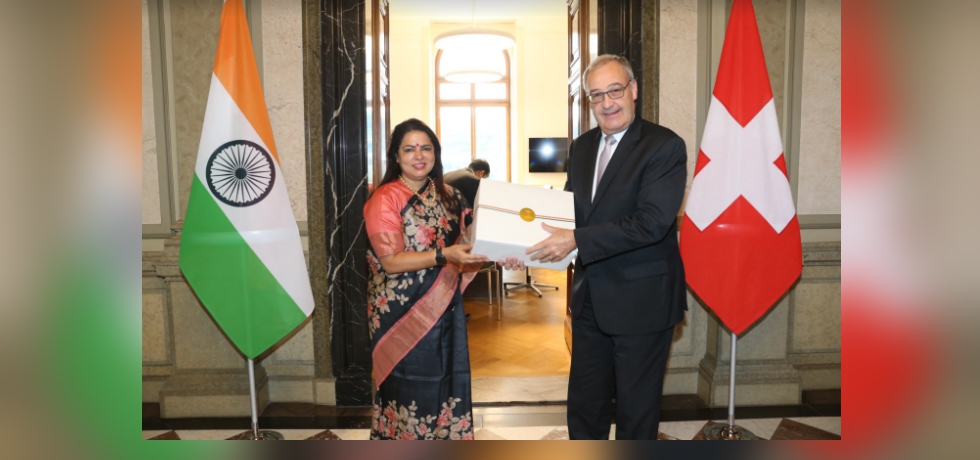 Minister of State for External Affairs and Culture Smt. Meenakashi Lekhi called on the President of the Swiss  Confederation H.E. Mr. Guy Parmelin, at Federal Palace, Berne