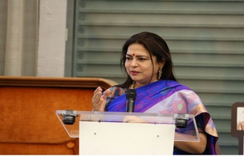 Minister of State for External Affairs and Culture Smt.Meenakashi Lekhi addressed members of International community in Geneva on 75 years of India's Independence on September 29, 2021