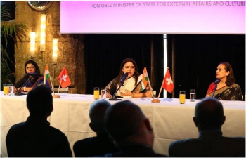 Minister of State for External Affairs and Culture Smt.Meenakashi Lekhi addressed the Annual General Meeting of Swiss-Indian Chamber of Commerce in Zurich on September 30, 2021